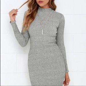 Lulu's I Mist You Heather Grey Midi Sweater Dress